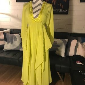 BCBG Runway Neon Yellow Chiffon Maxi Gown
